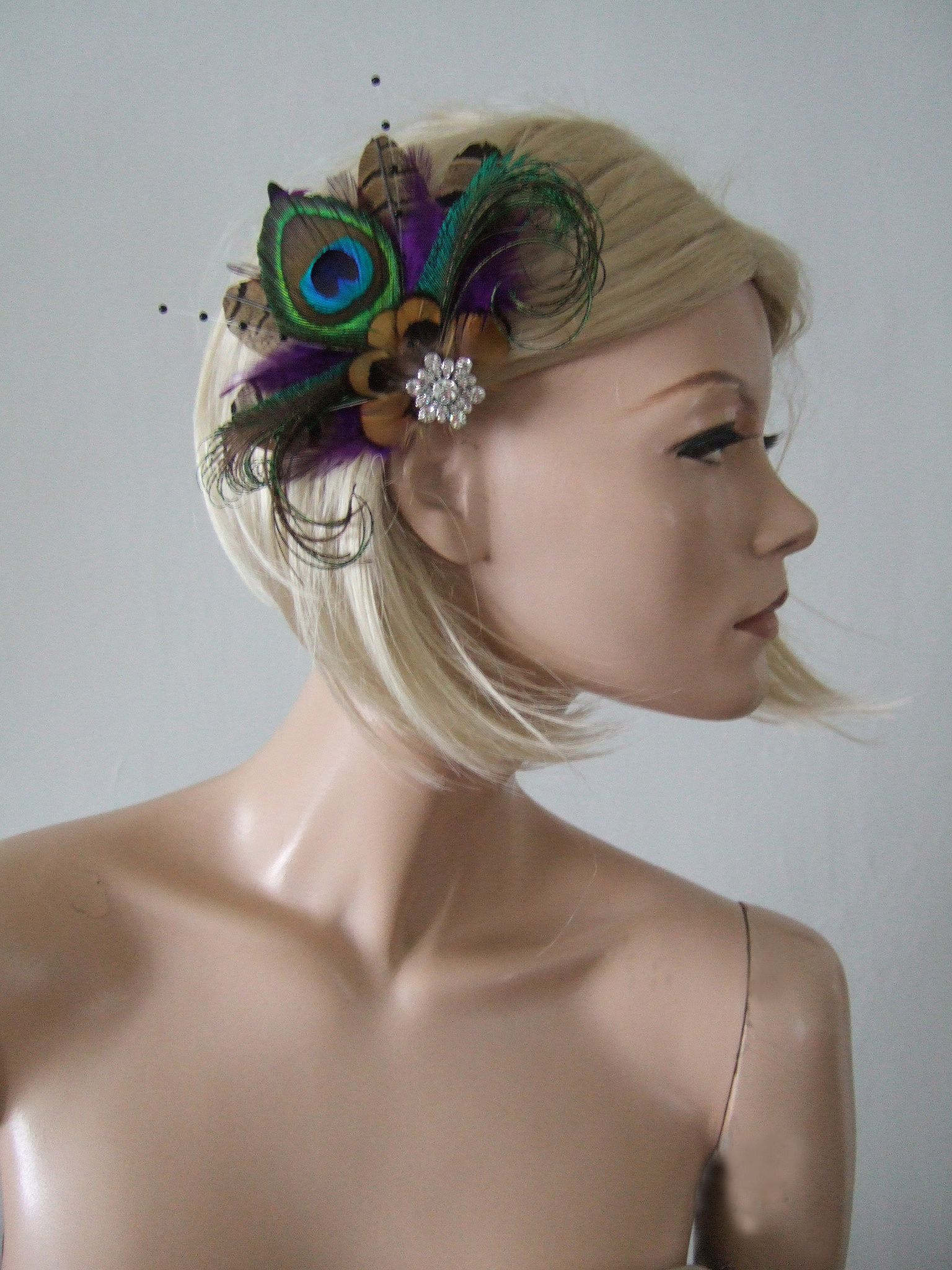 Purple Brown Green Peacock Pheasant Feathers Fascinator